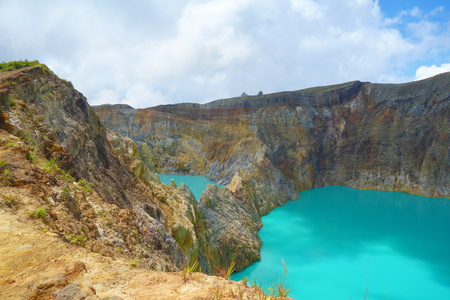 Gorgeous Beautiful Morning View of Kelimutu Crater Lake, Moni, Flores, Indonesia, Nusa Tenggara Timur, South-East Asia 版權商用圖片