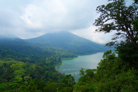 View of Buyan lake (Danau Buyan) from the top. Bedugul, Tabanan, Bali