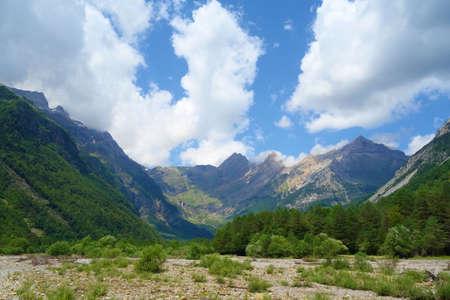Cinca waterfalls in National Park of Ordesa and Monte Perdido. Valley of Pineta, Bielsa