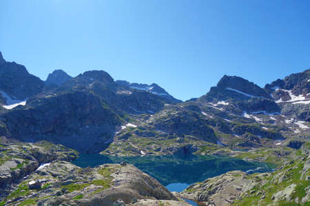 Ossau valley view from Peyreget peak in Pyrenees, France, Europe