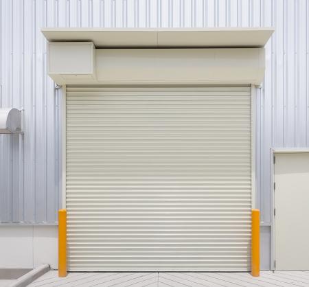 shutter: Shutter door, outside factory  Stock Photo