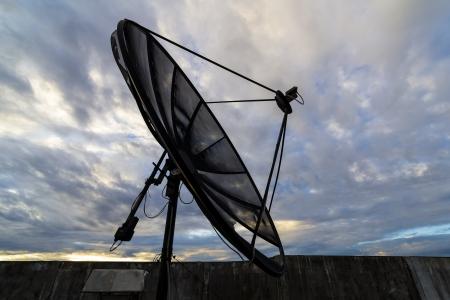 airwaves: Satellite dish with blue sky
