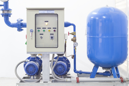 system utility: Pump system inside factory  Stock Photo