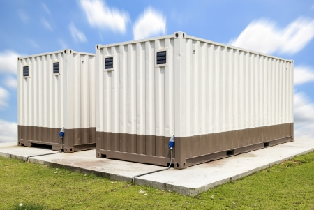 modular home: Container with blue sky background.