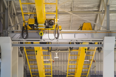 Factory overhead crane installation on rail,  can movement to every where in factory area. photo