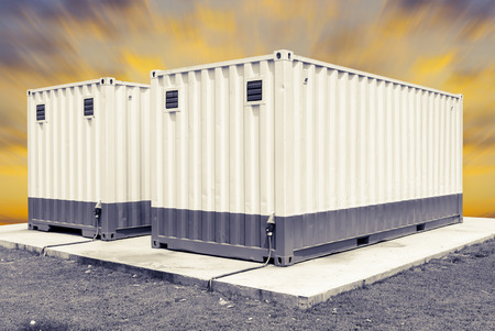 prefabricated: Container with blue sky.