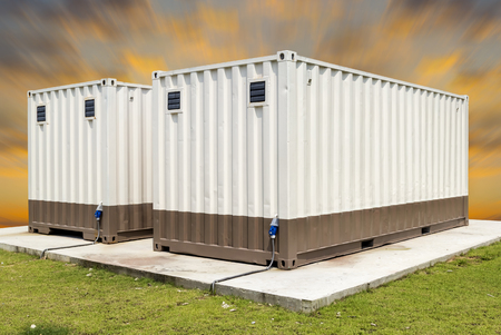 modular home: Container with blue sky background