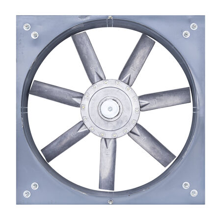 ventilator: Big fan for sucking air inside to outside of factory, isolate on white   Stock Photo