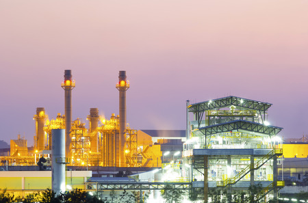 Power plant and factory at twilight time