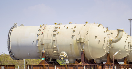 LNG tank fabrication waiting for installation in chemical plant.