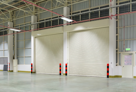 rolling: Shutter door inside factory, night time