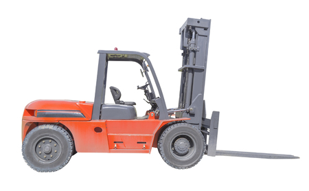 Forklift truck isolated on white . photo