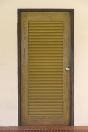 door leaf: Door leaf with striped pattern, brown color. Archivio Fotografico