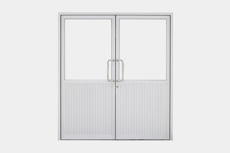 glass doors: Aluminium door with isolated background.