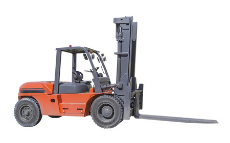 Forklift truck isolated on white background. photo
