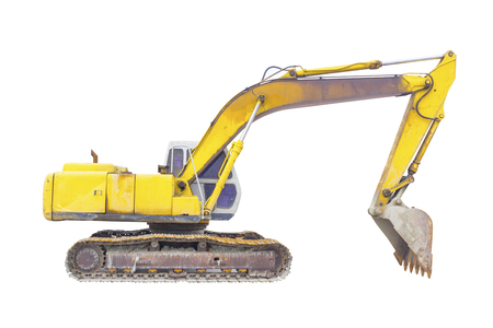 Backhoe or excavator machine isolated on white background  photo