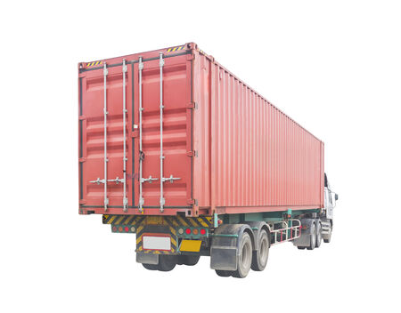 wheeler: Container box on truck, isolated on white background