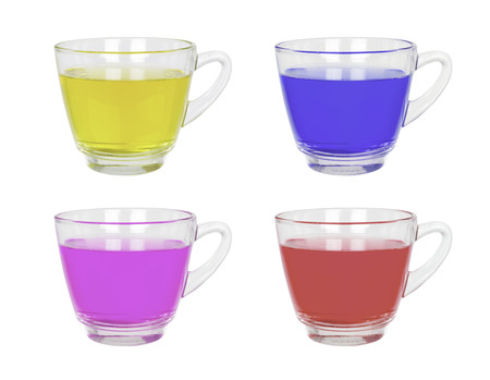 handle bars: Set of beverages and glass with a handle isolated on white.