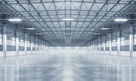 Factory background with concrete floor, night scene
