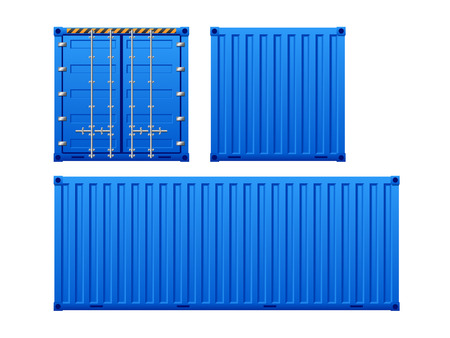 Blue container isolated on white background. photo