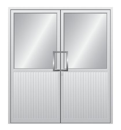 nickle: Aluminium door with isolated background.