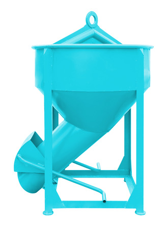 crane bucket: Concrete bucket (blue color) isolated on white background.