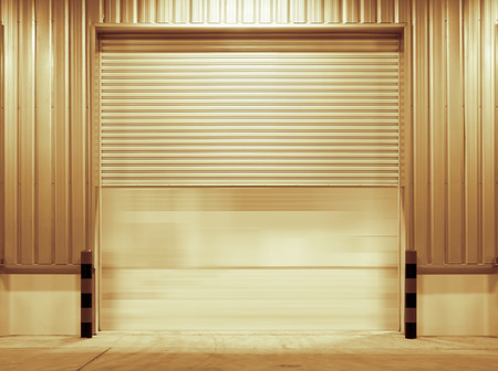 Shutter door outside factory gold color tone  photo