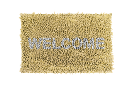 Blue doormat isolated on white background  photo