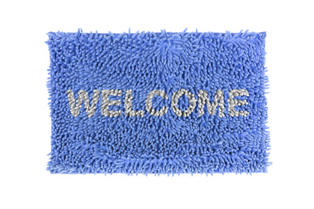 clean cut: Blue doormat isolated on white background  Stock Photo