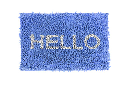 thinly: Blue doormat isolated on white background  Stock Photo