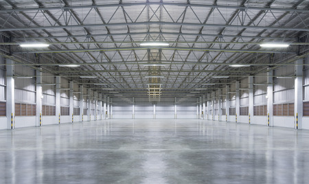 Factory background with concrete floor, night scence. Banco de Imagens