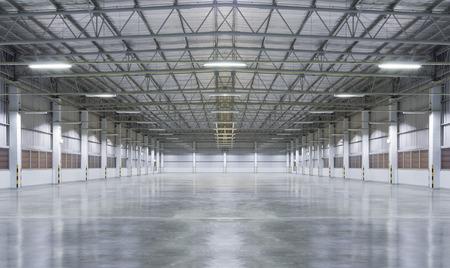 warehouse interior: La fabbrica di sfondo con pavimento in cemento, la notte scence.