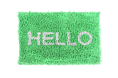 Blue doormat isolated on white background. photo