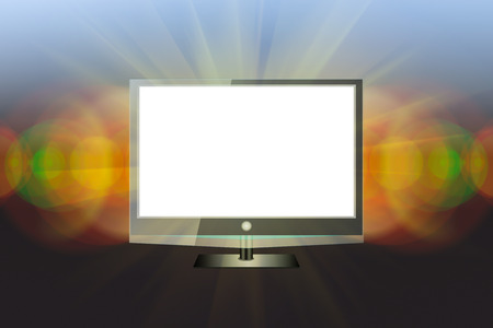 plazma: Modern black flat screen tv with white empty screen on modern dark background.