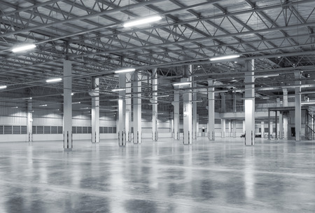 Factory background with concrete floor, night scene
