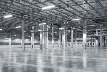 Fabrik Hintergrund mit Betonboden, Nachtszene Standard-Bild