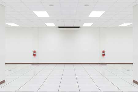 shiny floor: White empty room with tile floor.
