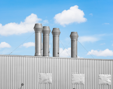 venting: Ventilation system of factory with blue sky background