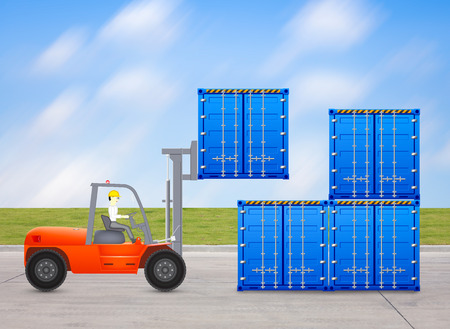 Forklift and container with sky background. photo