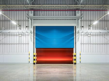 Shutter door or rolling door,blue color, night scene. Stock Photo