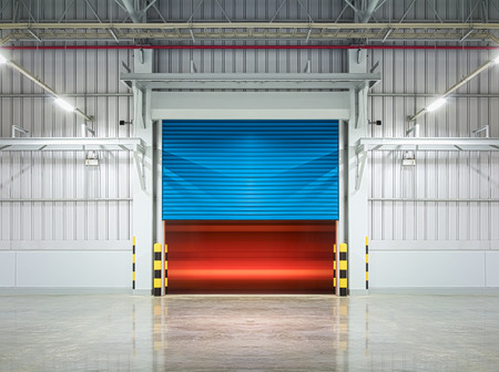 rolling garage door: Shutter door or rolling door,blue color, night scene. Stock Photo