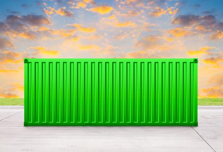 sala parto: Contenitore verde con lo sfondo del cielo.