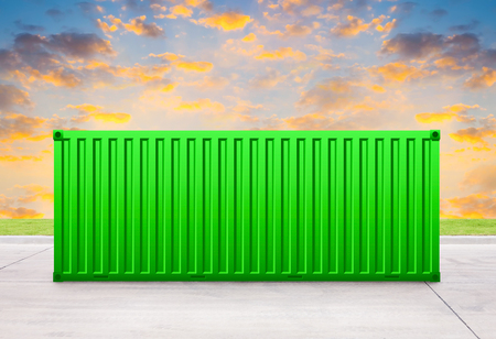 delivery room: Green container with sky background. Stock Photo