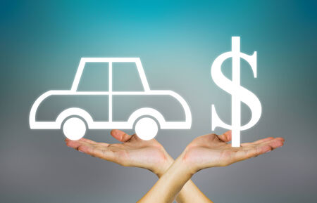 cash on hand: Business concept of auto on dark background. Stock Photo