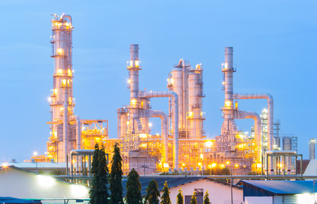 Oil refinery with blue sky background. photo