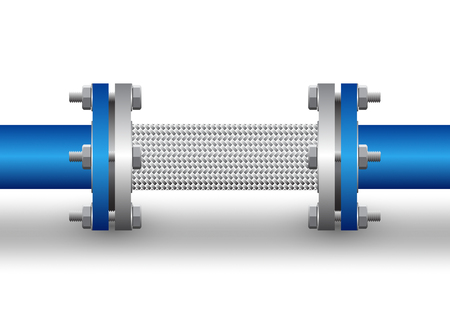Flexible connector of steel pipe isolated background.