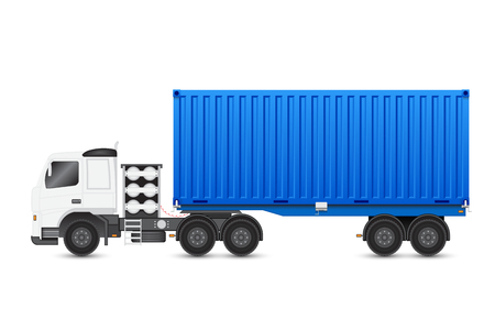 Illustration of trailer and container on white background.