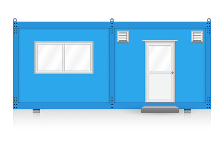 shipping container: Blue container house on white background.