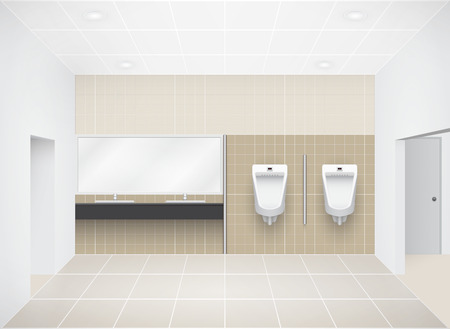 urinal: Illustration of toilet, beige color. Illustration
