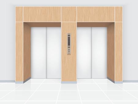 mall interior: Illustration of elevator door with wood wall.